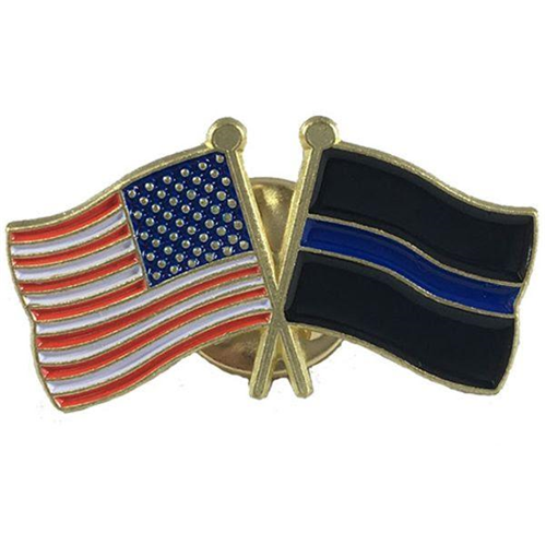 Thin Blue Line (black Background) And American Pin, Combination