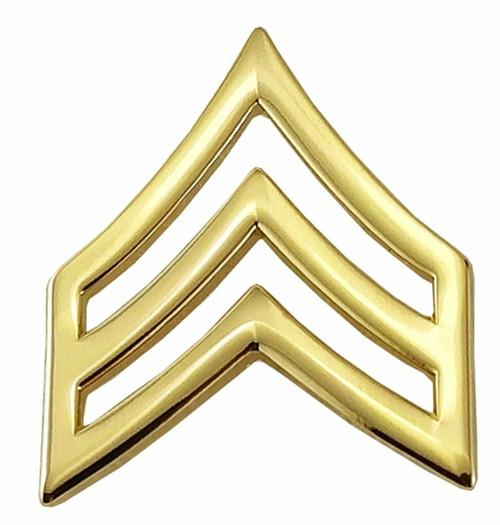 """SGT CHEVRONS, ENAMELED & PLATED, 2 POSTS & CLUTCH BACKS, PAIRS, POINTY-3/4"""" WIDE"""