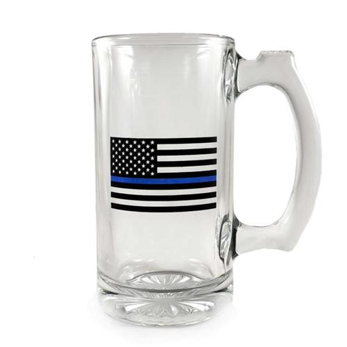 Libbey Deco Glass Mug - Thin Blue Line Flag, 12.5 Oz