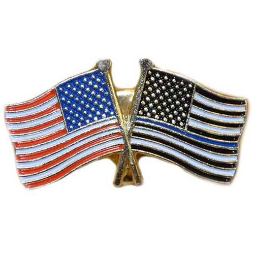 Thin Blue Line American Flag And American Flag Pin