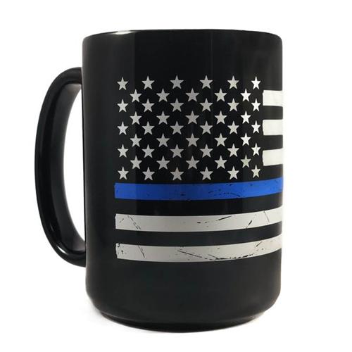 Distressed Flag Mug- Thin Blue Line, 15 oz