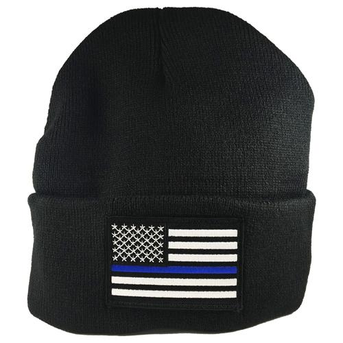 Thin Blue Line Flag Embroidered Beanie