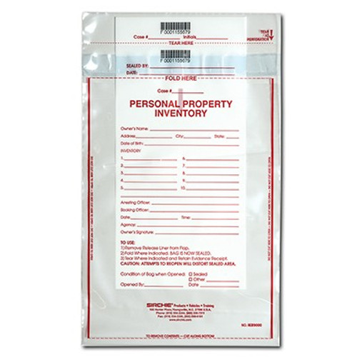 Personal Property Inventory Bag 9'' X 12'' (100 Each)
