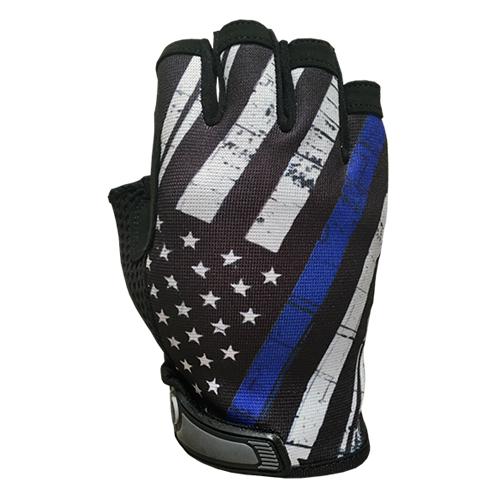 Blue Line Flag - Unlined - Half Finger Gloves
