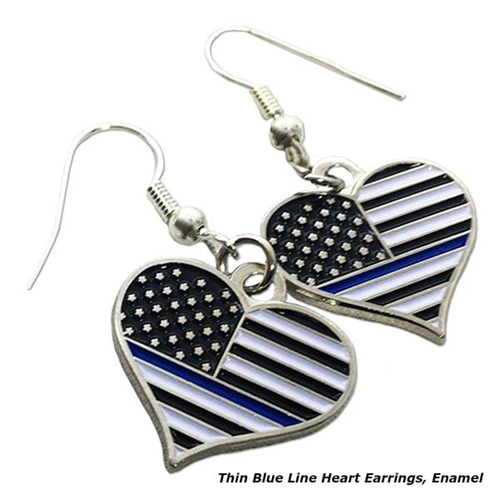 Thin Blue Line Heart Earrings, Rhinestone