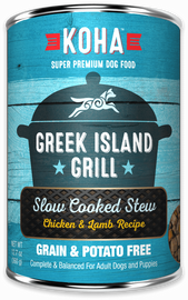Koha Greek Island Grill Slow Cooked Stew Chicken and Lamb Recipe Dog Food 12.7 OZ.,  case of 12