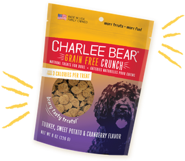 Charlee Bear Grain Free Crunch Turkey, Sweet Potato & Cranberry Flavor Dog Treat, 8 OZ.