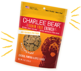 Charlee Bear Grain Free Crunch Chicken, Pumpkin and Apple Flavor Dog Treat, 8 OZ.