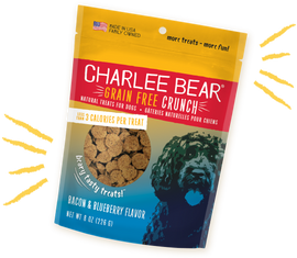 Charlee Bear Grain Free Crunch Bacon & Blueberry Flavor Dog Treat, 8 OZ.