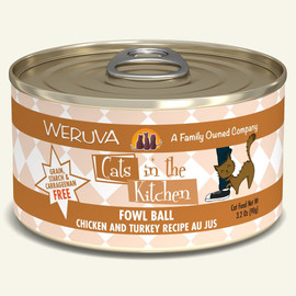 Weruva Cats in the Kitchen Fowl Ball Chicken and Turkey Recipe Au Jus Cat Food 3.2 OZ.,  Case of 24