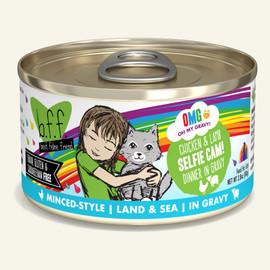 Weruva B.F.F. OMG! Chicken & Lamb Selfie Cam! Chicken & Lamb Dinner in Gravy Cat Food 2.8 OZ.,  Case of 12