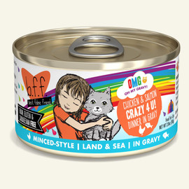 Weruva B.F.F. OMG! Chicken & Salmon Crazy 4 U! Chicken & Salmon Dinner in Gravy Cat Food 2.8 OZ.,  Case of 12