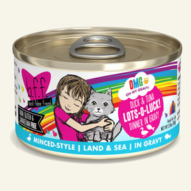 Weruva B.F.F. OMG! Duck & Tuna Lots-O-Luck! Duck & Tuna Dinner in Gravy Cat Food 2.8 OZ.,  Case of 12