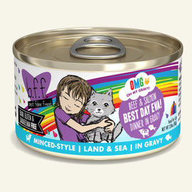 Weruva B.F.F. OMG! Beef & Salmon Best Day Eva! Beef & Salmon Dinner in Gravy Cat Food 2.8 OZ.,  Case of 12