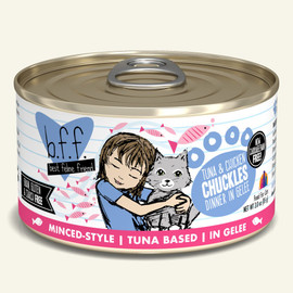 Weruva B.F.F. Tuna & Chicken Chuckles Tuna & Chicken Dinner in Gelee Cat Food 3 OZ.,  Case of 24