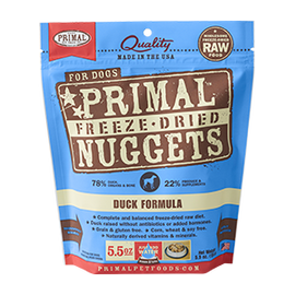 Primal Duck Balanced Base Canine Raw Freeze Dried Nuggets Dog Food