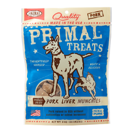 Primal Tempting Treat Freeze Dried Pork Liver Munchies Dog and Cat Treat, 4 OZ.