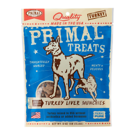 Primal Tempting Treat Freeze Dried Turkey Liver Munchies Dog and Cat Treat, 4 OZ.
