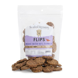 The Natural Dog Company 95% Turkey Flips Dog Treats, 8.5 OZ.