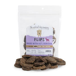 The Natural Dog Company 95% Venison Flips Dog Treats, 6 OZ.