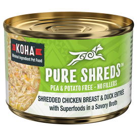 Koha Pure Shreds Shredded Chicken Breast & Duck Entree Dog Food, Case of 12