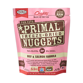 Primal Beef & Salmon Balanced Base Raw Freeze Dried Nuggets Cat Food, 5.5 OZ.