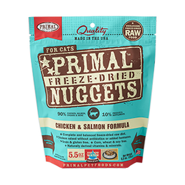 Primal Chicken & Salmon Balanced Base Raw Freeze Dried Nuggets Cat Food, 5.5 OZ.