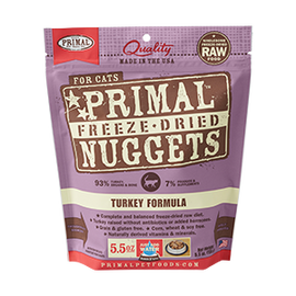 Primal Turkey Balanced Base Raw Freeze Dried Nuggets Cat Food, 5.5 OZ.
