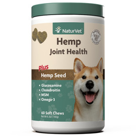 NaturVet Hemp Joint Health Dog Supplement, 60 Soft Chews