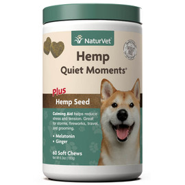 NaturVet Hemp Quiet Moments Calming Aid Dog Supplement, 60 Soft Chews