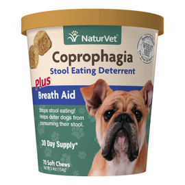 NaturVet Coprophagia Stool Eating Deterrent Dog Supplement, 70 Soft Chews