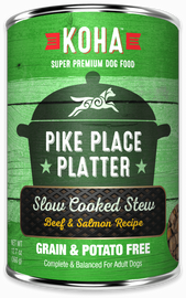 Koha Pike Place Platter Slow Cooked Stew Beef & Salmon Recipe Dog Food 12.7 OZ.,  case of 12
