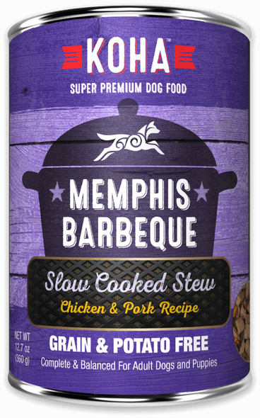 Koha Memphis Barbecue Slow Cooked Stew Chicken and Pork Recipe Dog Food 12.7 OZ.,  case of 12
