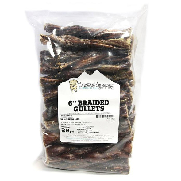 """The Natural Dog Company Beef Braided Gullet 6"""" Dog Chew"""