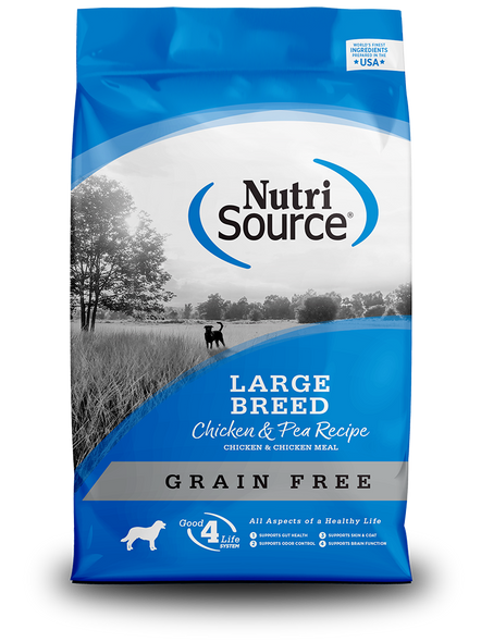 Nutrisource Grain Free Large Breed Chicken & Pea Dog Food, 30 LB.