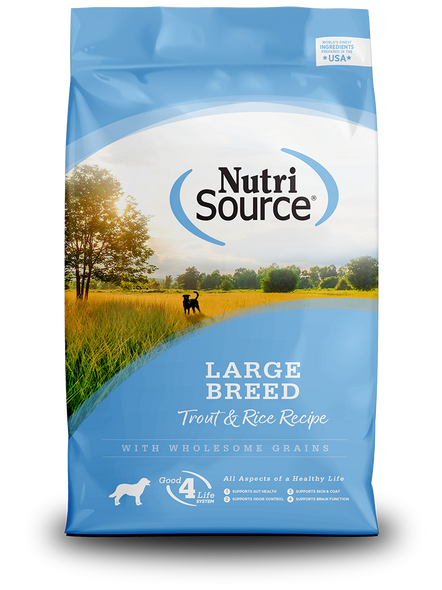 Nutrisource Large Breed Trout & Rice Recipe Dog Food, 30 LB.