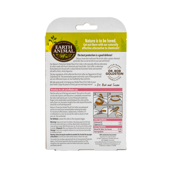 Earth Animal Nature's Protection Flea & Tick Herbal Collar For Cats