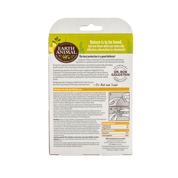 Earth Animal Nature's Protection Flea & Tick Herbal Spot On For Dogs, 3 Count