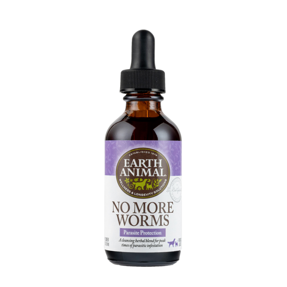 Earth Animal No More Worms Organic Herbal Remedy Dog and Cat Supplement, 2 OZ.