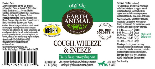 Earth Animal Cough, Wheeze, & Sneeze Organic Herbal Remedy Dog and Cat Supplement, 2 OZ.