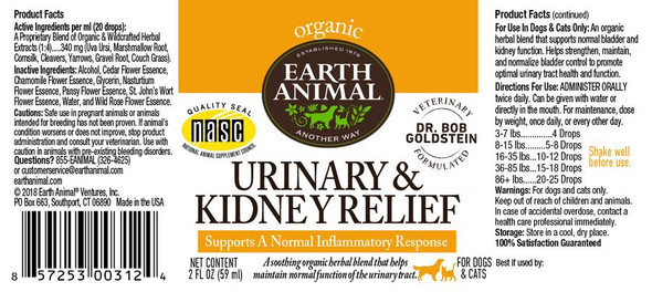 Earth Animal Urinary & Kidney Relief Organic Herbal Remedy Dog and Cat Supplement, 2 OZ.