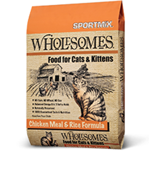 Sportmix Wholesomes Chicken Meal & Rice Formula Cat Food, 15 LB.