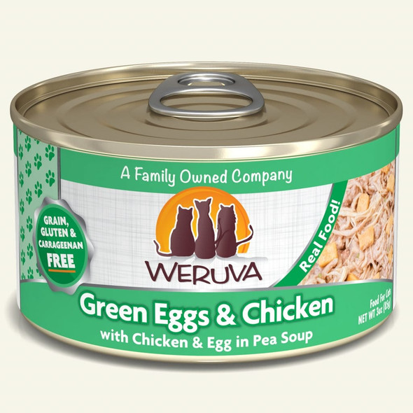 Weruva Classic Green Eggs & Chicken with Chicken & Egg in Pea Soup Cat Food 3 OZ.,  Case of 24