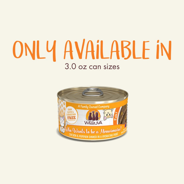 Weruva Pate Who Wants To Be A Meowionaire? Chicken & Pumpkin Dinner Cat Food 3 OZ.,  Case of 12