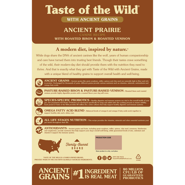 Taste Of The Wild Ancient Prairie Canine Recipe with Roasted Bison & Roasted Venison Dog Food