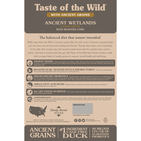 Taste Of The Wild Ancient Wetlands Canine Recipe with Roasted Fowl Dog Food