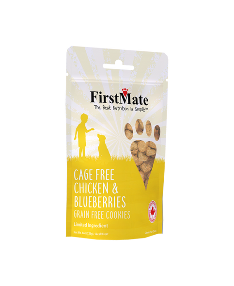 FirstMate Cage Free Chicken & Blueberries Dog Treats, 8 OZ.