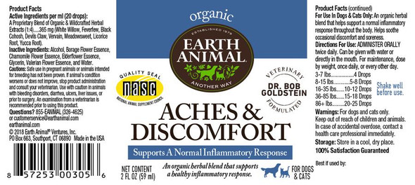 Earth Animal Aches & Discomfort Organic Herbal Remedy Dog and Cat Supplement, 2 OZ.