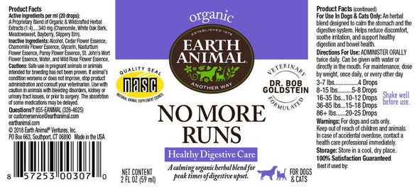 Earth Animal No More Runs Herbal Remedy Dog and Cat Supplement, 2 OZ.