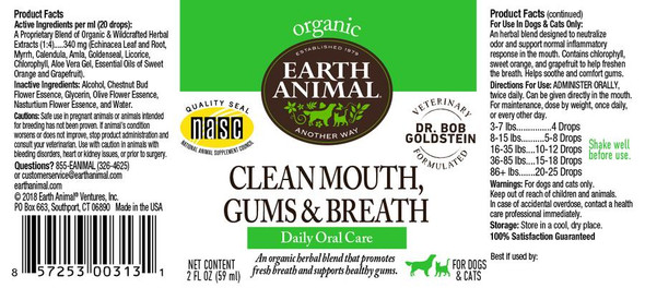 Earth Animal Clean Mouth, Gums & Breath Organic Herbal Remedy Dog and Cat Supplement, 2 OZ.